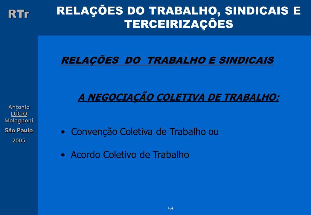 RELAÇÕES DO TRABALHO E SINDICAIS A NEGOCIAÇÃO COLETIVA DE TRABALHO: