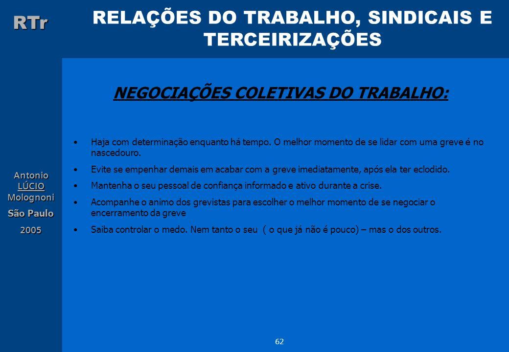 NEGOCIAÇÕES COLETIVAS DO TRABALHO:
