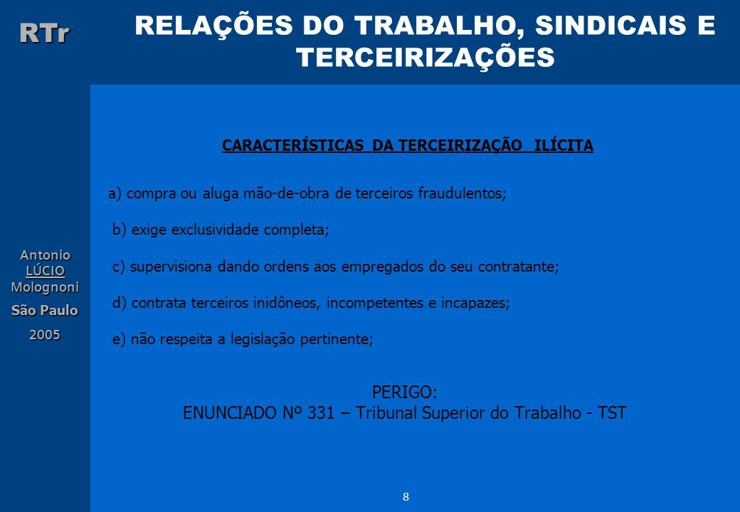 CARACTERÍSTICAS DA TERCEIRIZAÇÃO ILÍCITA