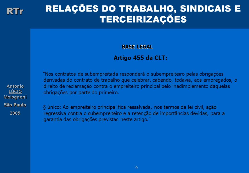 Artigo 455 da CLT: BASE LEGAL