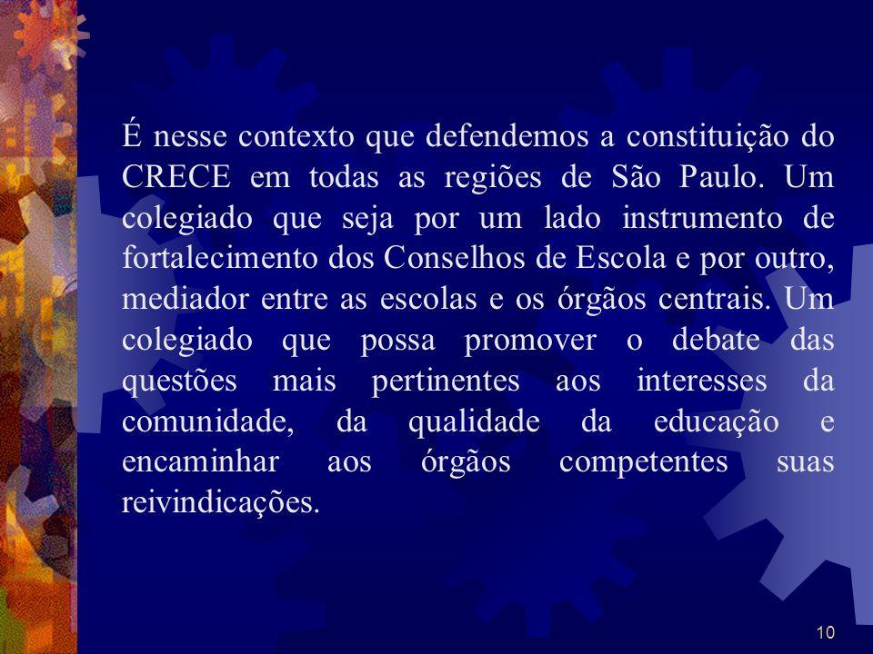 É nesse contexto que defendemos a constituição do CRECE em todas as regiões de São Paulo. Um colegiado que seja por um lado instrumento de fortalecimento dos Conselhos de Escola e por outro, mediador entre as escolas e os órgãos centrais. Um colegiado que possa promover o debate das questões mais pertinentes aos interesses da comunidade, da qualidade da educação e encaminhar aos órgãos competentes suas reivindicações.
