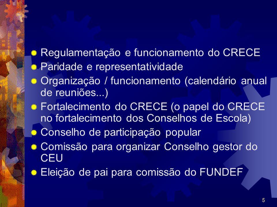 Regulamentação e funcionamento do CRECE Paridade e representatividade