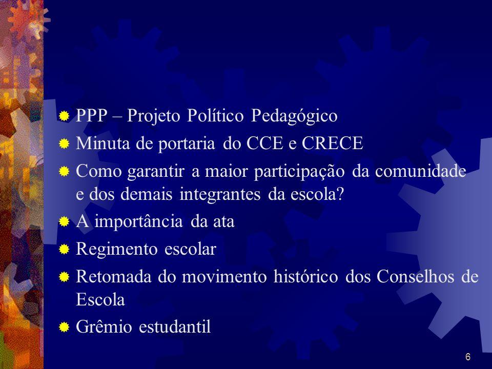 PPP – Projeto Político Pedagógico Minuta de portaria do CCE e CRECE