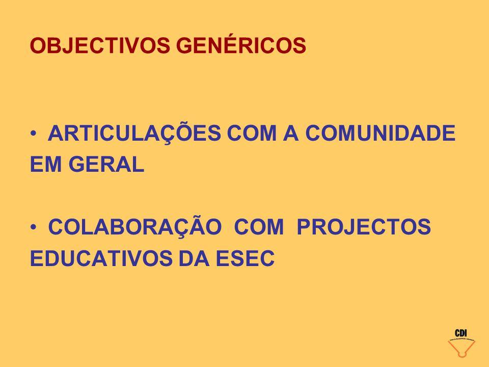 OBJECTIVOS GENÉRICOS ARTICULAÇÕES COM A COMUNIDADE.