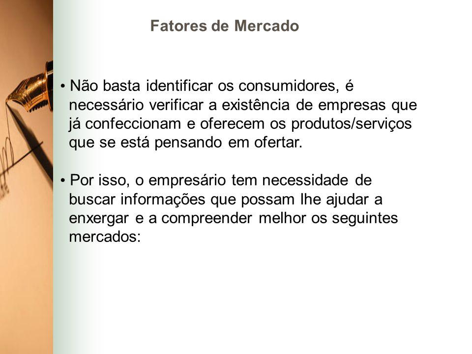 Fatores de Mercado Não basta identificar os consumidores, é. necessário verificar a existência de empresas que.