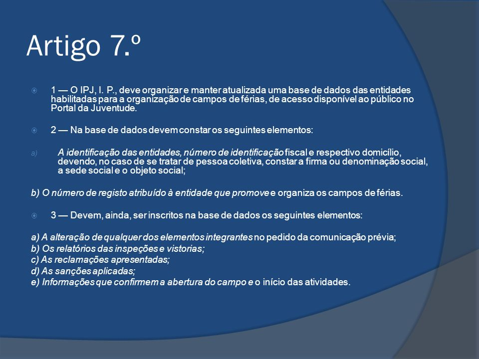 Artigo 7.º