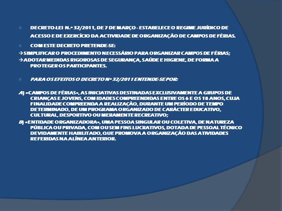DECRETO-LEI N.º 32/2011, DE 7 DE MARÇO - ESTABELECE O REGIME JURÍDICO DE ACESSO E DE EXERCÍCIO DA ACTIVIDADE DE ORGANIZAÇÃO DE CAMPOS DE FÉRIAS.