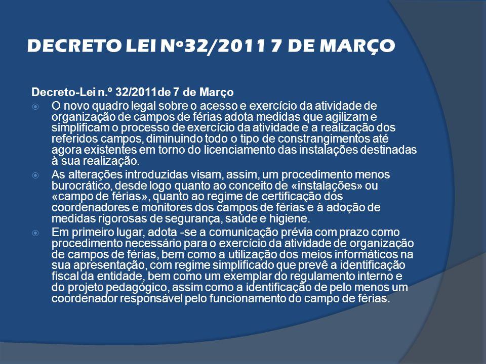 DECRETO LEI Nº32/2011 7 DE MARÇO