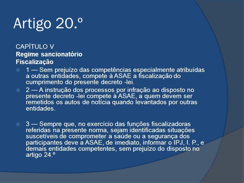 Artigo 20.º CAPÍTULO V Regime sancionatório Fiscalização