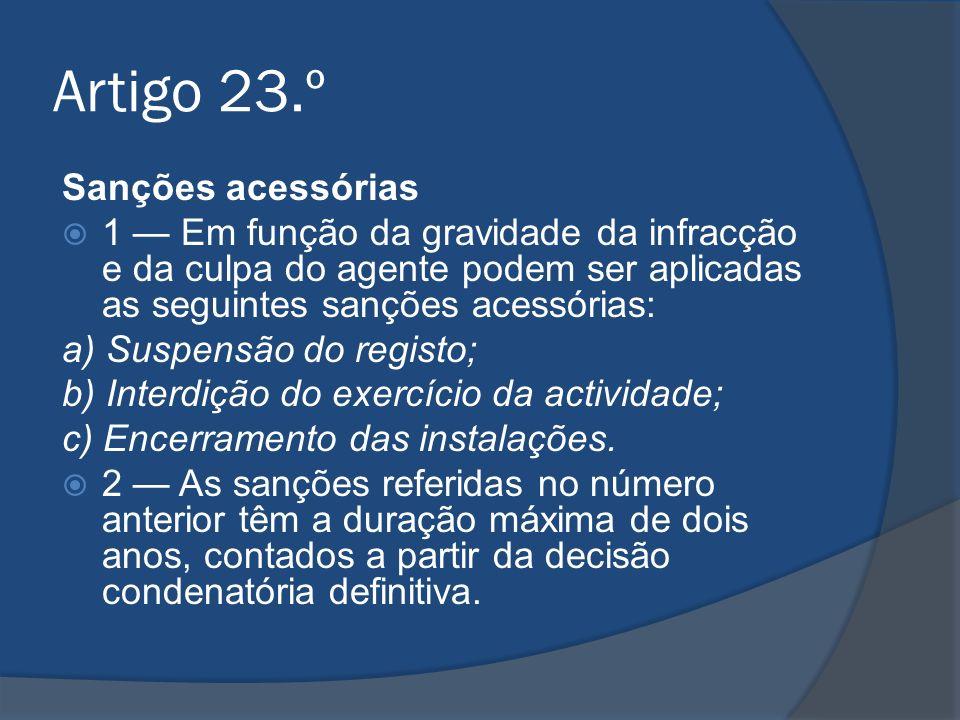Artigo 23.º Sanções acessórias