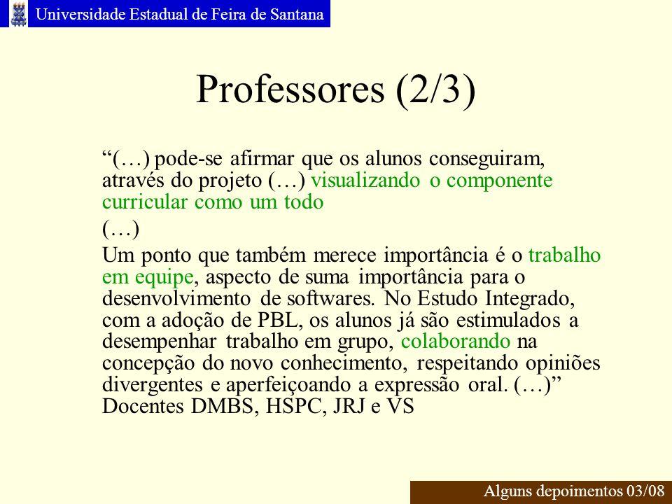 Professores (2/3) (…) pode-se afirmar que os alunos conseguiram, através do projeto (…) visualizando o componente curricular como um todo.