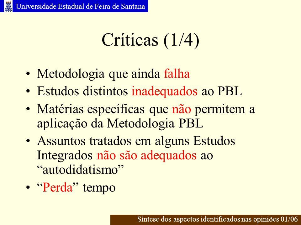 Críticas (1/4) Metodologia que ainda falha
