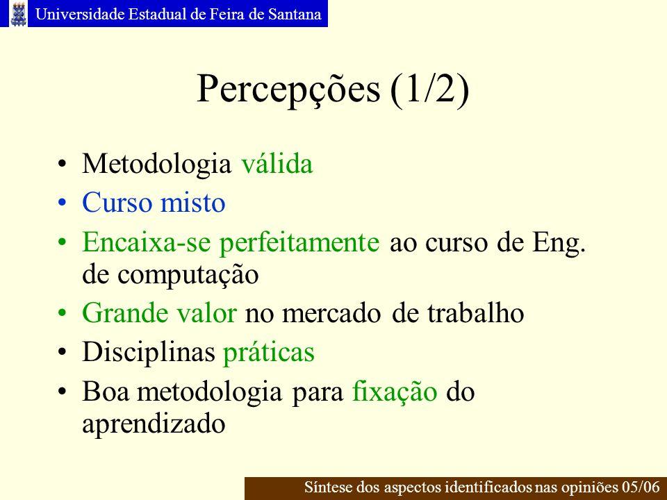Percepções (1/2) Metodologia válida Curso misto