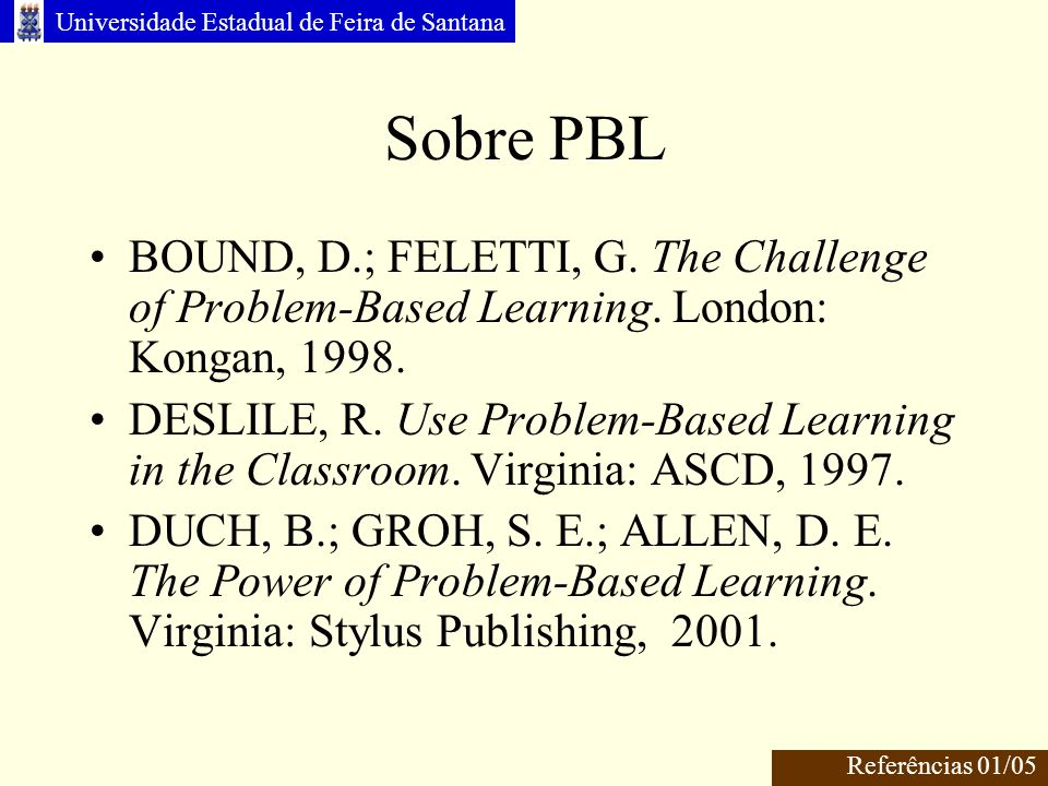 Sobre PBL BOUND, D.; FELETTI, G. The Challenge of Problem-Based Learning. London: Kongan, 1998.