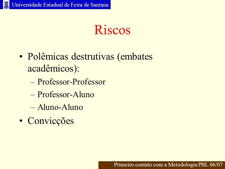 Riscos Polêmicas destrutivas (embates acadêmicos): Convicções