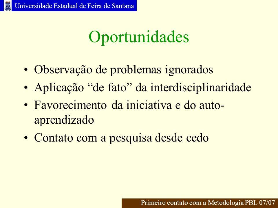 Oportunidades Observação de problemas ignorados