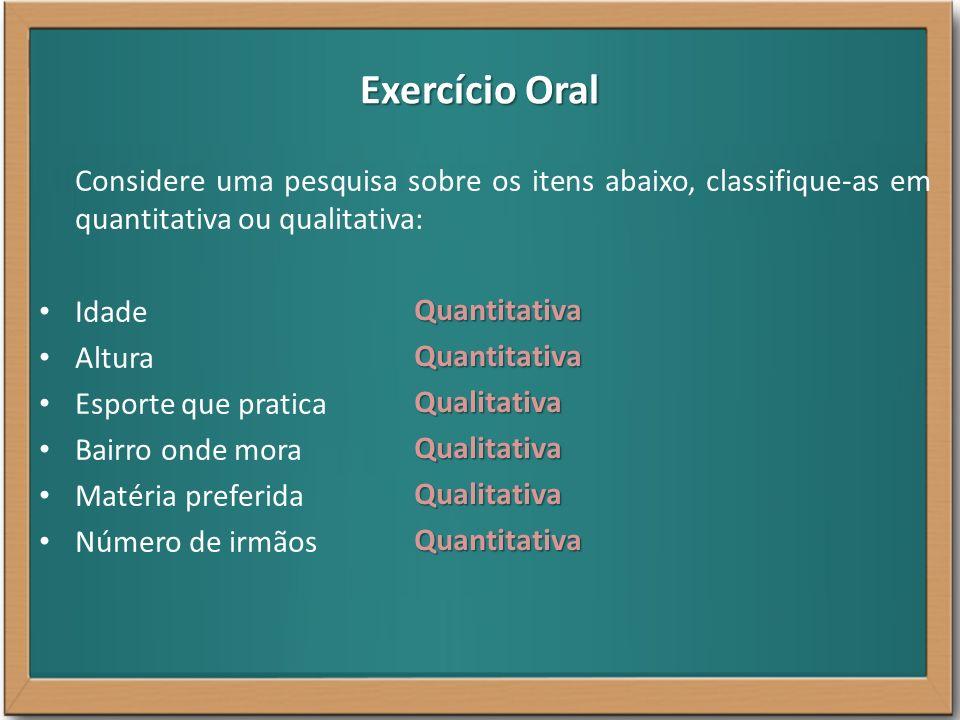 Exercício Oral Considere uma pesquisa sobre os itens abaixo, classifique-as em quantitativa ou qualitativa: