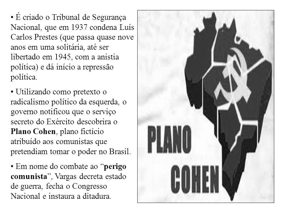 É criado o Tribunal de Segurança Nacional, que em 1937 condena Luís Carlos Prestes (que passa quase nove anos em uma solitária, até ser libertado em 1945, com a anistia política) e dá início a repressão política.
