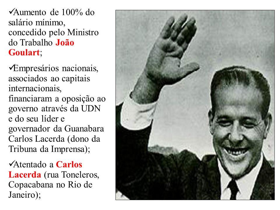 Aumento de 100% do salário mínimo, concedido pelo Ministro do Trabalho João Goulart;