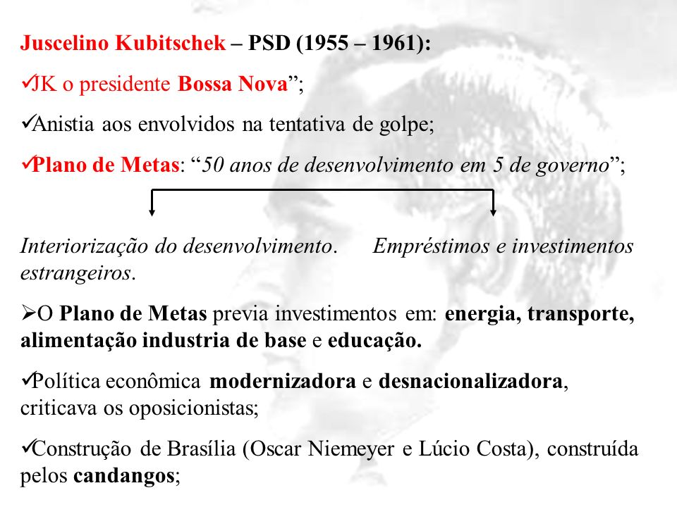 Juscelino Kubitschek – PSD (1955 – 1961):