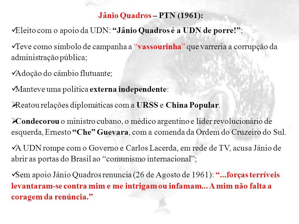 Jânio Quadros – PTN (1961): Eleito com o apoio da UDN: Jânio Quadros é a UDN de porre! ;