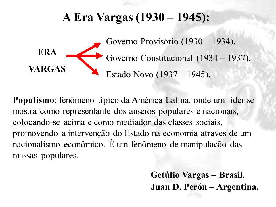 A Era Vargas (1930 – 1945): Governo Provisório (1930 – 1934).