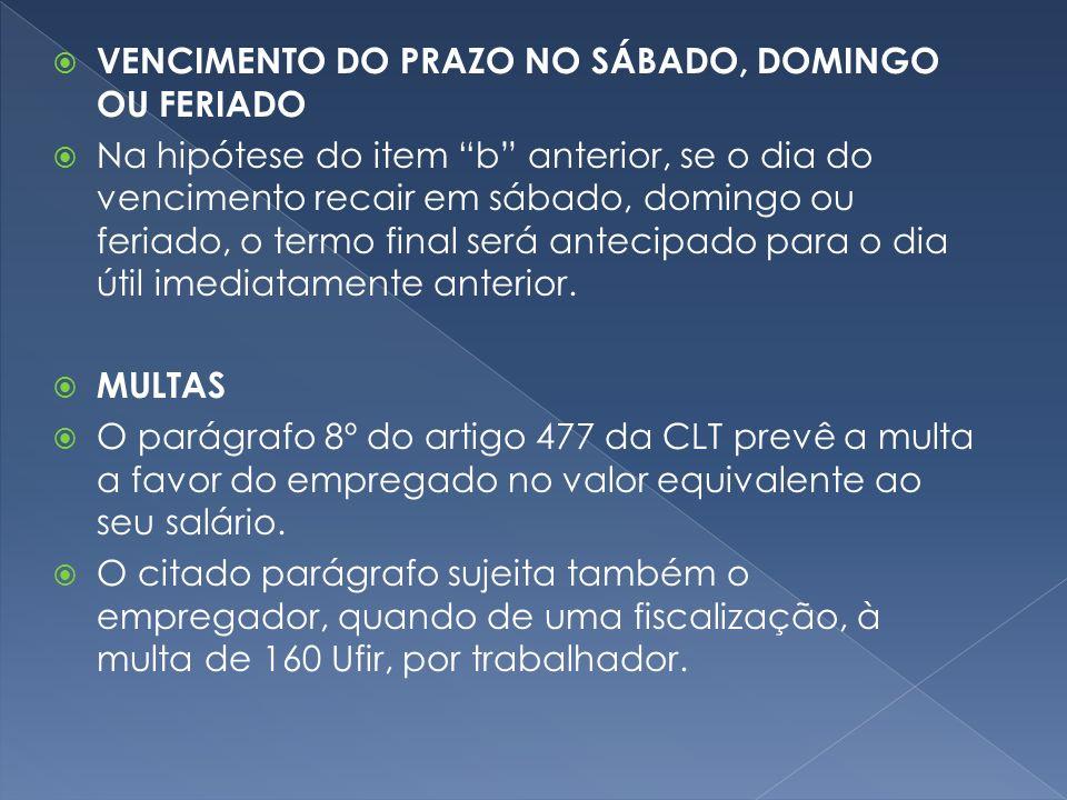 VENCIMENTO DO PRAZO NO SÁBADO, DOMINGO OU FERIADO