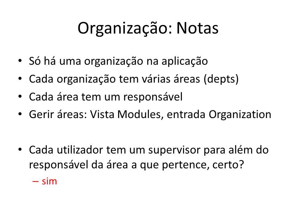 Organização: Notas Só há uma organização na aplicação