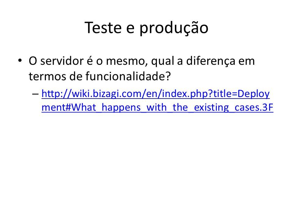 Teste e produção O servidor é o mesmo, qual a diferença em termos de funcionalidade