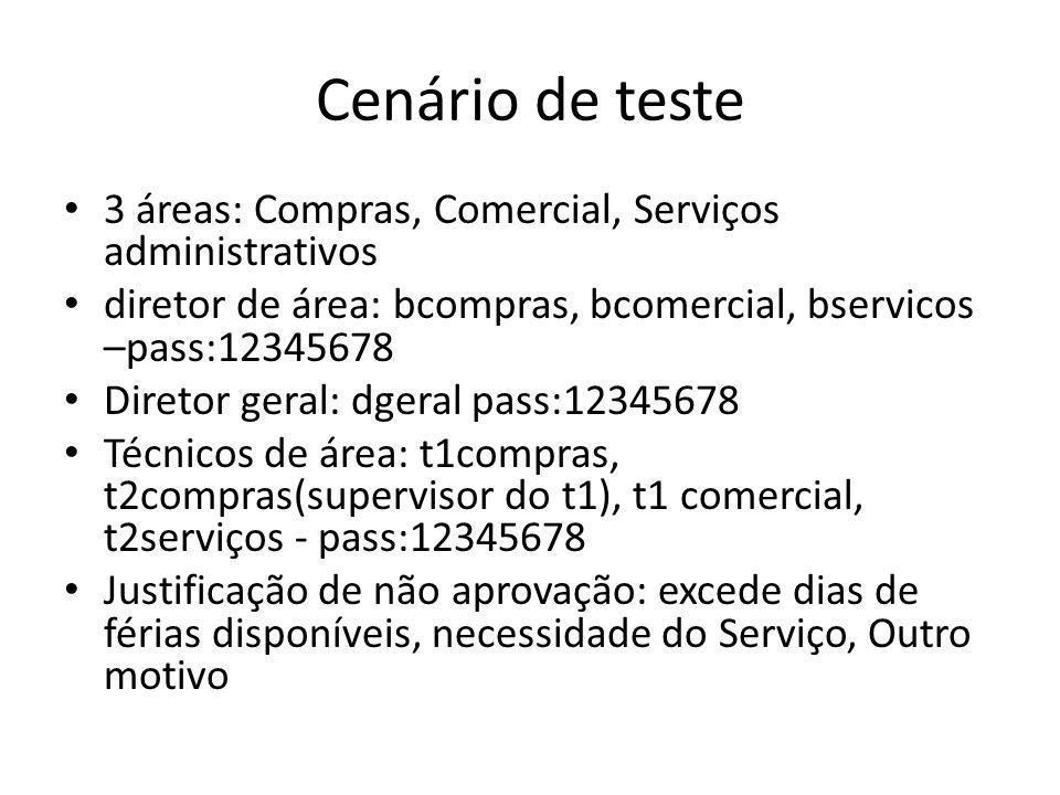 Cenário de teste 3 áreas: Compras, Comercial, Serviços administrativos