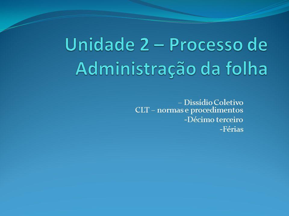 Unidade 2 – Processo de Administração da folha