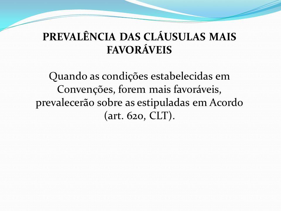 PREVALÊNCIA DAS CLÁUSULAS MAIS FAVORÁVEIS