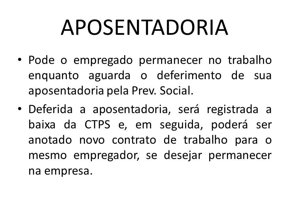 APOSENTADORIA Pode o empregado permanecer no trabalho enquanto aguarda o deferimento de sua aposentadoria pela Prev. Social.