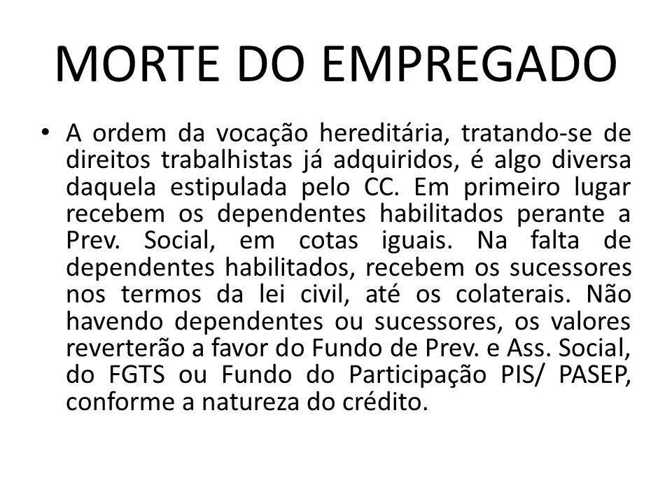 MORTE DO EMPREGADO