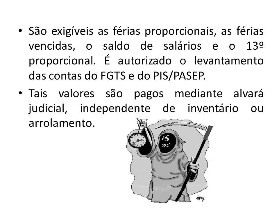 São exigíveis as férias proporcionais, as férias vencidas, o saldo de salários e o 13º proporcional. É autorizado o levantamento das contas do FGTS e do PIS/PASEP.