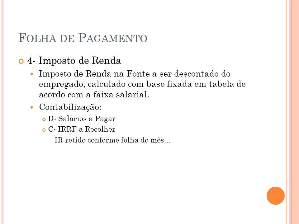Folha de Pagamento 4- Imposto de Renda
