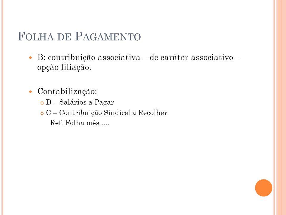 Folha de Pagamento B: contribuição associativa – de caráter associativo – opção filiação. Contabilização: