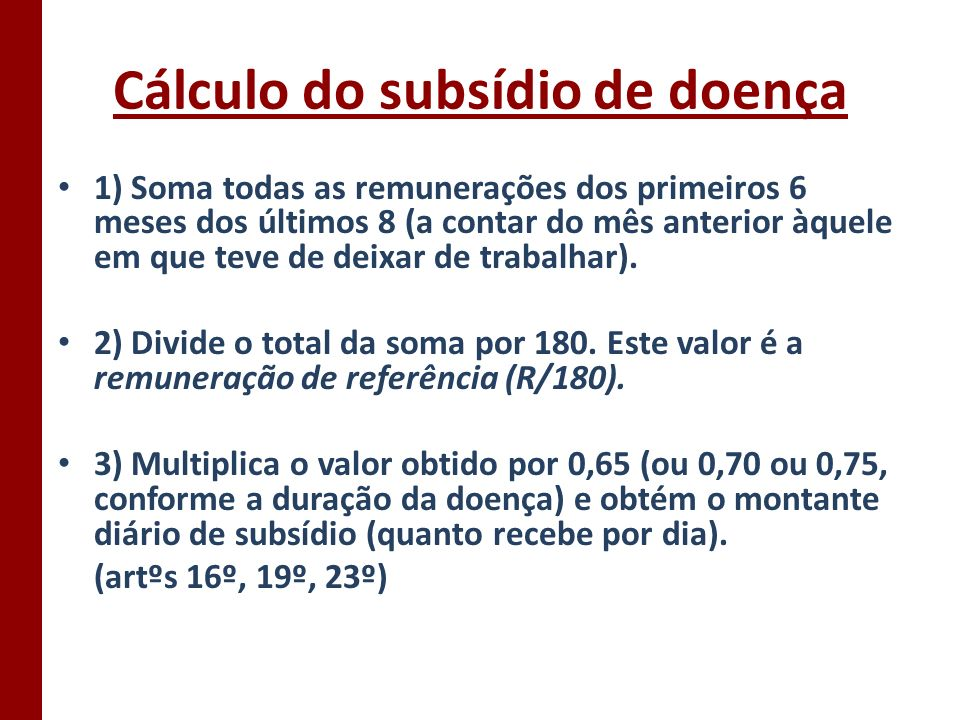 Cálculo do subsídio de doença