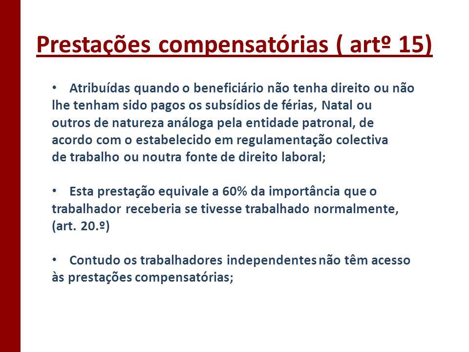 Prestações compensatórias ( artº 15)
