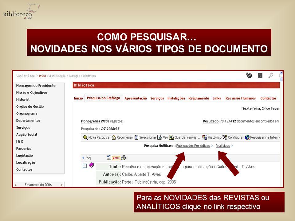 NOVIDADES NOS VÁRIOS TIPOS DE DOCUMENTO