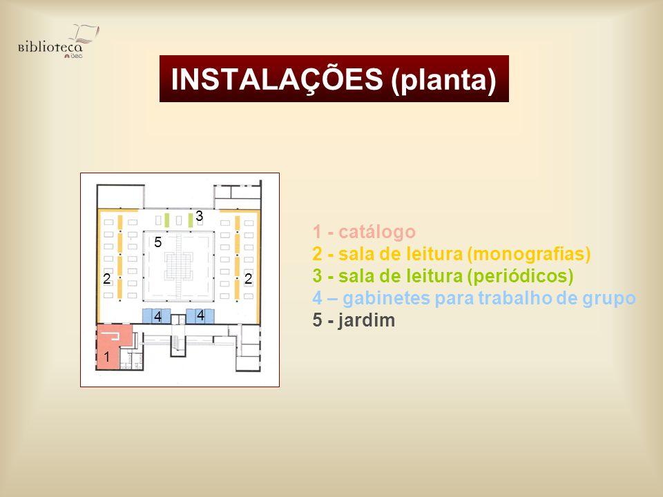 INSTALAÇÕES (planta) 1 - catálogo 2 - sala de leitura (monografias)