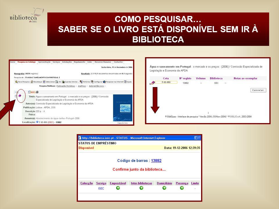 SABER SE O LIVRO ESTÁ DISPONÍVEL SEM IR À BIBLIOTECA