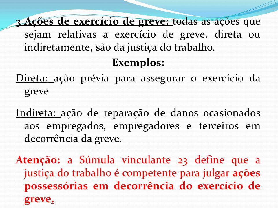 3 Ações de exercício de greve: todas as ações que sejam relativas a exercício de greve, direta ou indiretamente, são da justiça do trabalho.