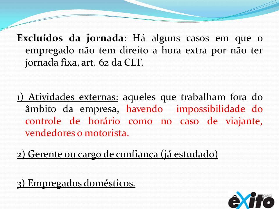Excluídos da jornada: Há alguns casos em que o empregado não tem direito a hora extra por não ter jornada fixa, art. 62 da CLT.