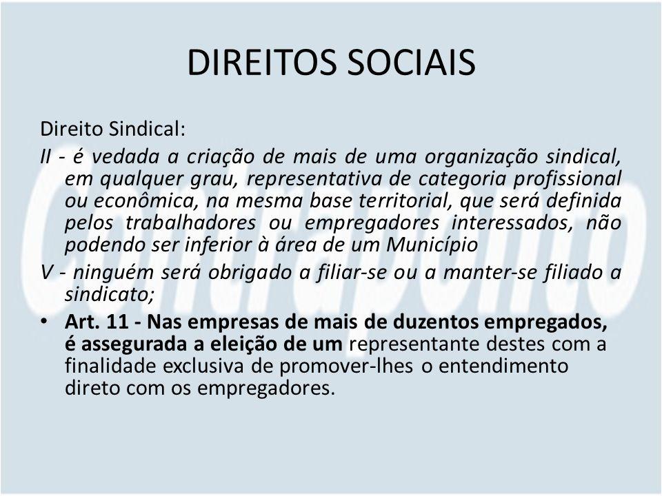 DIREITOS SOCIAIS Direito Sindical: