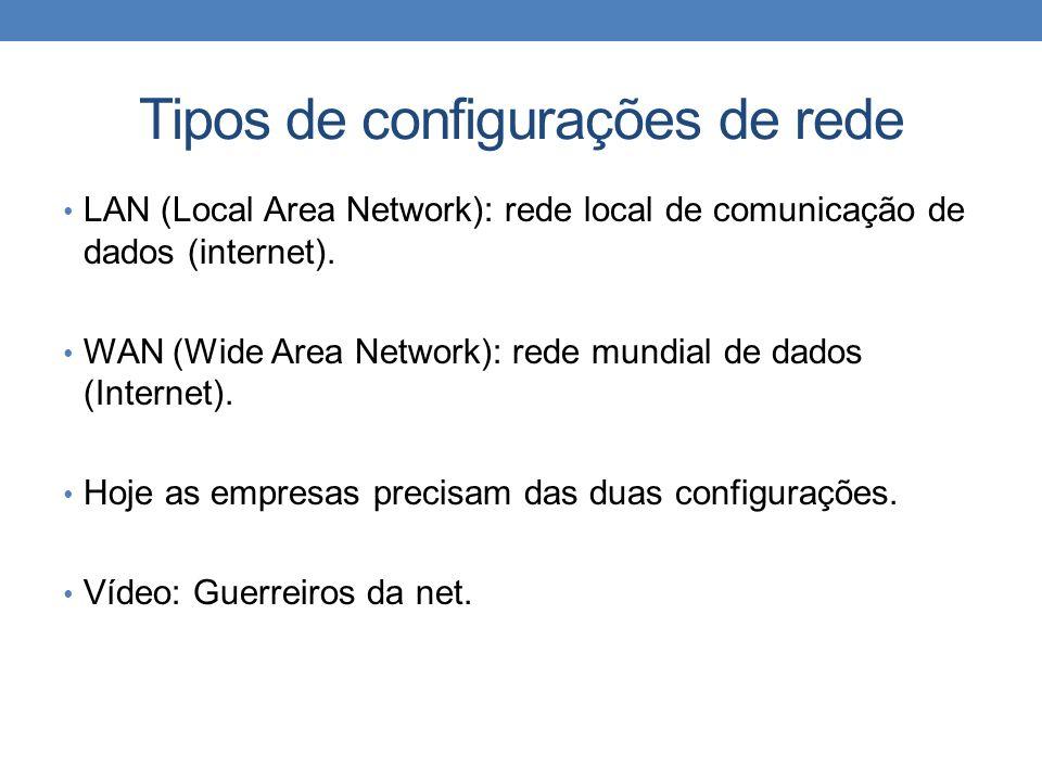 Tipos de configurações de rede