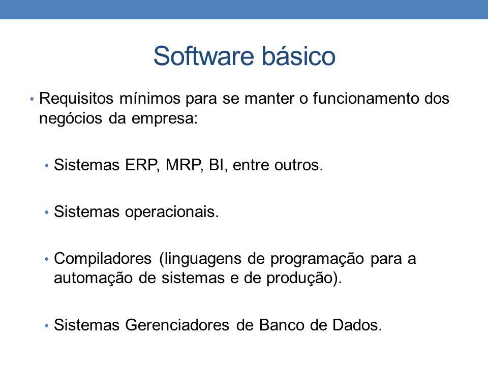 Software básicoRequisitos mínimos para se manter o funcionamento dos negócios da empresa: Sistemas ERP, MRP, BI, entre outros.