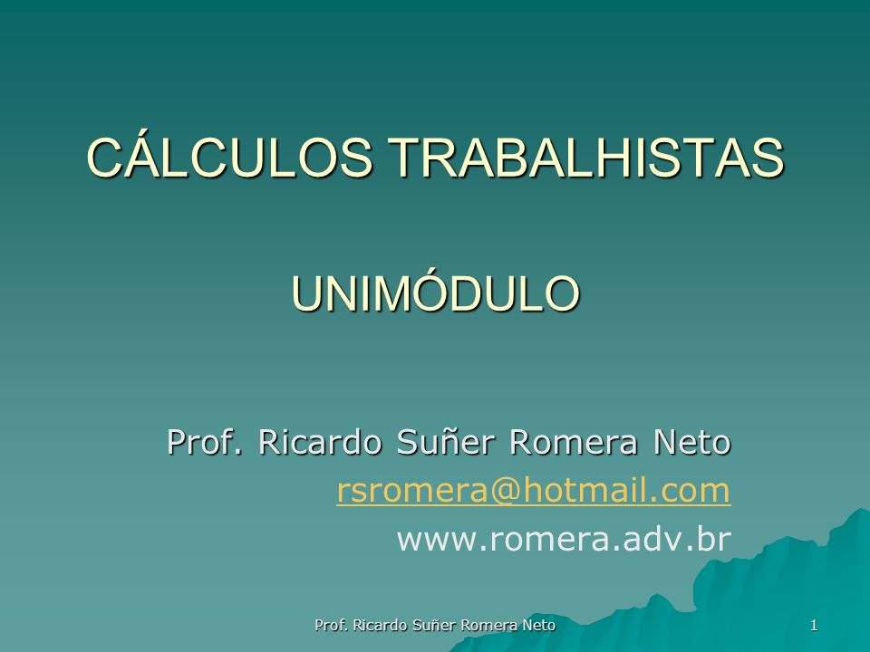 CÁLCULOS TRABALHISTAS UNIMÓDULO