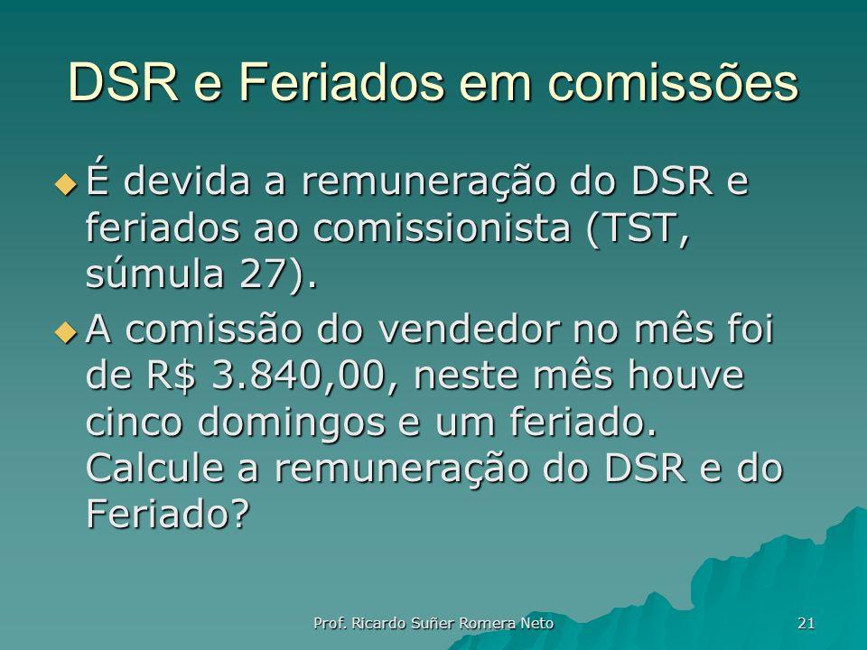 DSR e Feriados em comissões