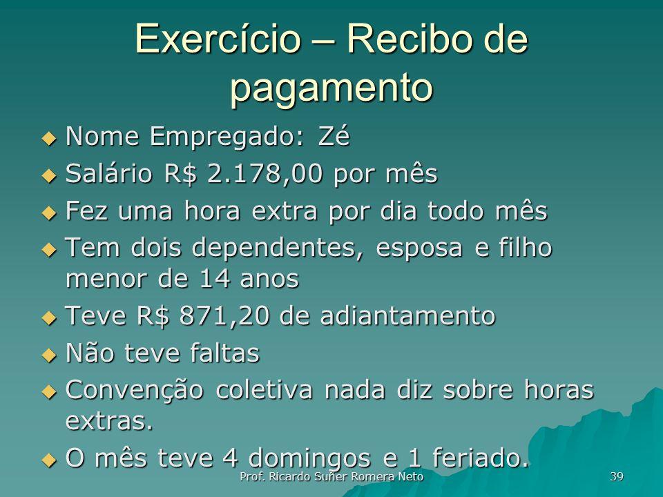 Exercício – Recibo de pagamento